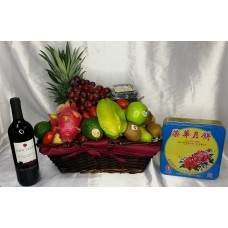 Mid Autumn Festival Fruits Hamper and MoonCake and Red Wine